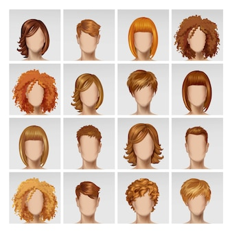 Icona femminile dei capelli della testa di profilo dell'avatar del fronte femminile maschio messa su fondo