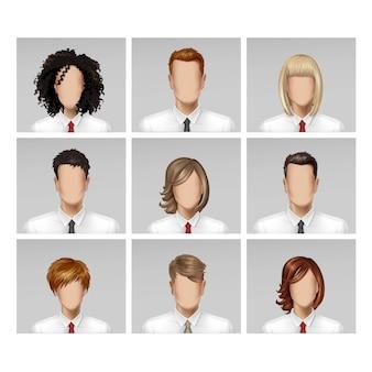 Icona femminile del legame dei capelli della testa di profilo dell'avatar del fronte femminile maschio di affari messa su fondo