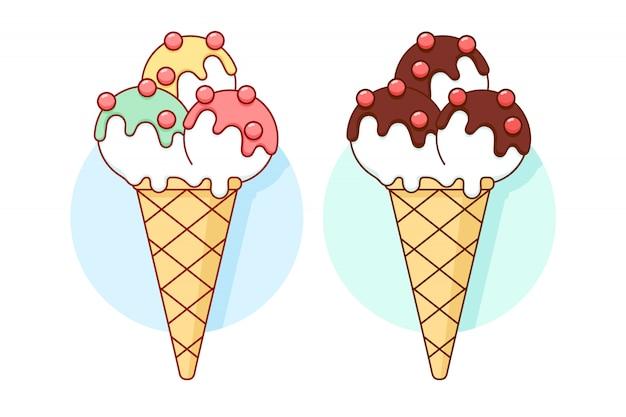 Icona gelato diverso colore pastello