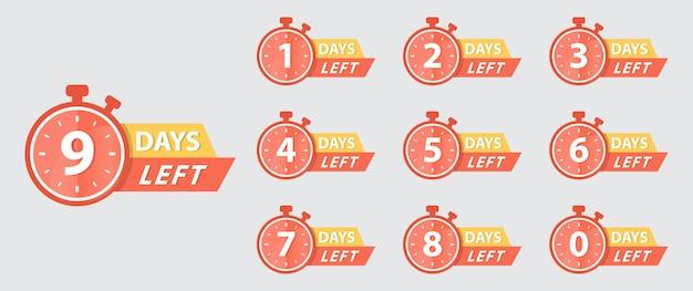 Icona giorni rimasti. badge limitati per la promozione. contatore verso il basso pulsante per la vendita o affare. segno di sconto del giorno rimasto. timbro con il conto alla rovescia dell'offerta. vettore imposta il conto alla rovescia dei numeri da 0 a 9