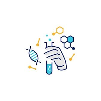Icona illustrativa di logo della vetreria per laboratorio della tenuta della mano