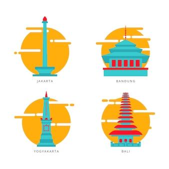 Icona / illustrazione indonesiane di vettore del punto di riferimento