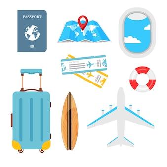 Icona impostata per il viaggio in uno stile piatto. valigia, mappa, biglietti, salvagente, passaporto, oblò, aereo e tavola da surf isolato su sfondo bianco. pianificazione delle vacanze estive, viaggio nelle vacanze estive.