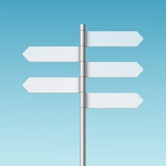 Icona in bianco della freccia del segno del cartello di direzione su fondo