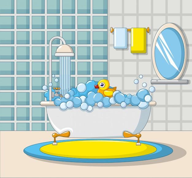 Icona interna bagno, stile cartoon