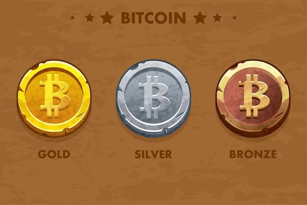 Icona isolata bitcoin in oro, argento e bronzo. criptovaluta digitale o virtuale. moneta e contanti elettronici