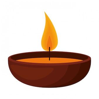 Icona isolata candela di aromaterapia