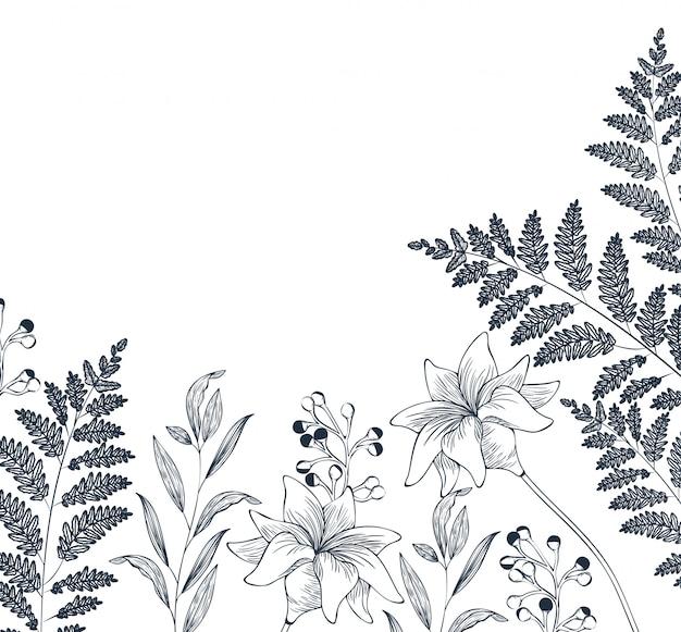 Icona isolata dei fiori e delle foglie del modello