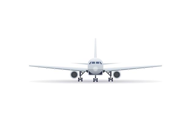 Icona isolata dell'aeroplano del jet di vista frontale