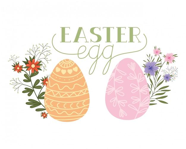 Icona isolata dell'etichetta dell'uovo di pasqua