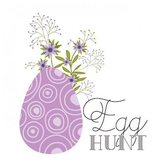 Icona isolata dell'etichetta di caccia dell'uovo