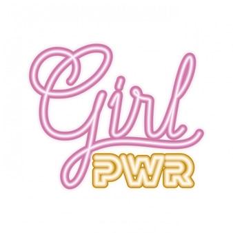 Icona isolata dell'etichetta di potere della ragazza