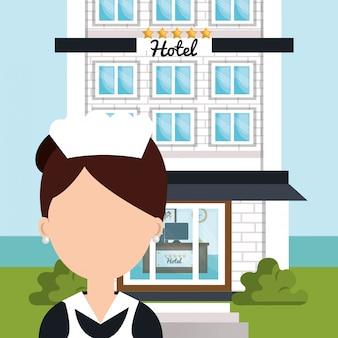 Icona isolata dell'hotel di servizio di stanza