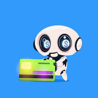 Icona isolata della carta di credito della tenuta sveglia del robot su intelligenza artificiale di tecnologia moderna del fondo blu