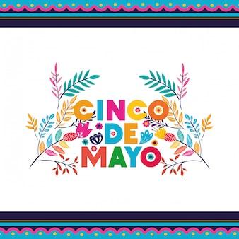Icona isolata di etichetta di cinco de mayo