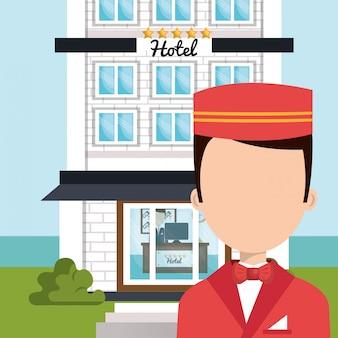 Icona isolata di hotel del servizio di fattorino