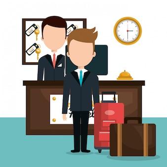 Icona isolata di servizio dell'hotel receptionist