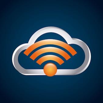 Icona isolata di servizio di connessione wifi