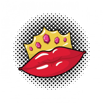 Icona isolata di stile di arte di schiocco femminile delle labbra