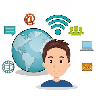 Icona isolata di tecnologia di comunicazione internet