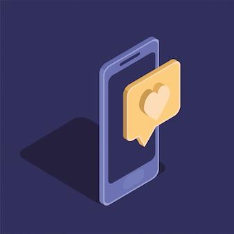 Icona isolata dispositivo di tecnologia smartphone