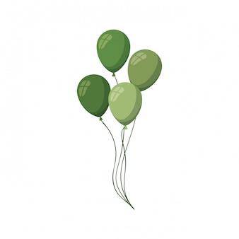 Icona isolata palloncini verdi dell'elio