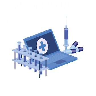 Icona isolata strumenti di laboratorio e del computer portatile