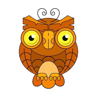 Icona isolata vettore di schizzo dell'uccello del gufo o del gufo