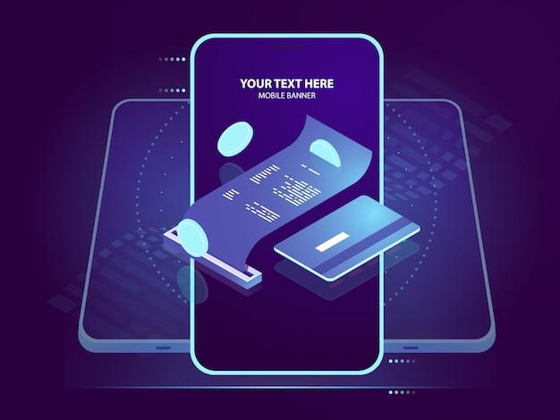Icona isometrica del pagamento degli elettroni, ricevuta di pagamento con carta di credito, sicurezza bancaria online