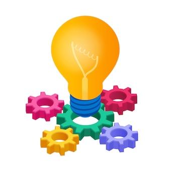Icona isometrica della lampadina. concetto di idea creativa. lampadina con ingranaggi.