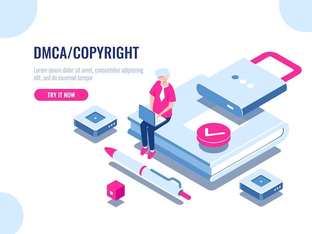 Icona isometrica di copyright dei dati dmca, sicurezza dei contenuti, libro con serratura, contratto digitale elettronico