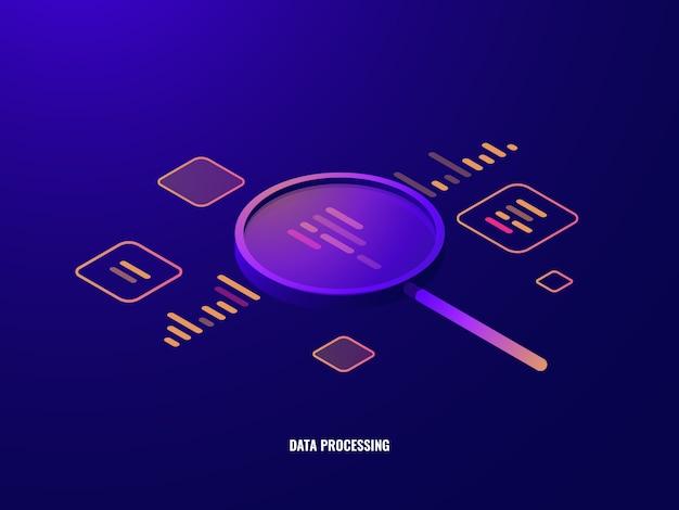 Icona isometrica di elaborazione dati, analisi e statistiche commerciali, lente d'ingrandimento