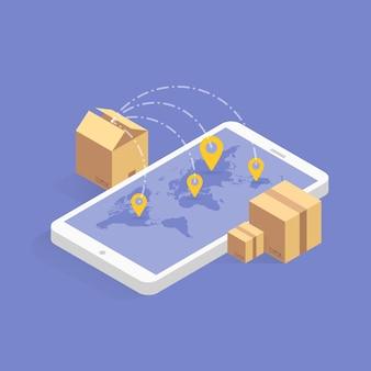 Icona isometrica di monitoraggio della consegna online. illustrazione. tecnologia smart post su tablet digitale o telefono cellulare. traccia l'applicazione di controllo