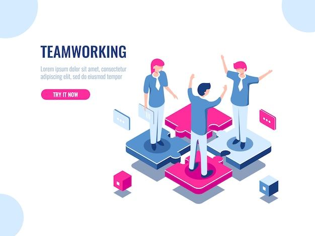 Icona isometrica di successo di lavoro di squadra, soluzione di affari di puzzle, lavorando insieme, associazione di persone