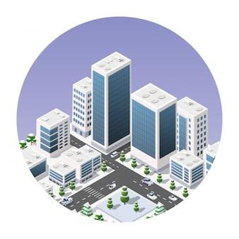 Icona isometrica di una città