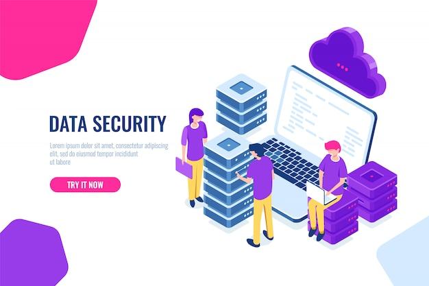 Icona isometrica tecnologia cloud, lavoro di squadra in datacenter, sala server e database, processo big data