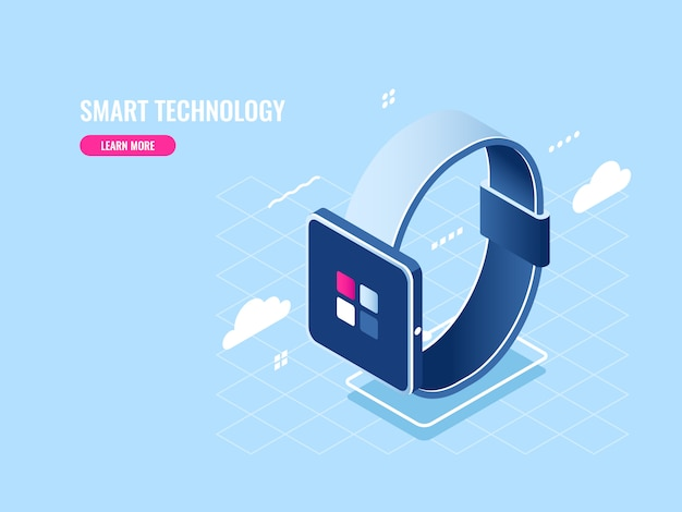Icona isometrica tecnologia intelligente di smartwatch, dispositivo digitale, applicazione mobile