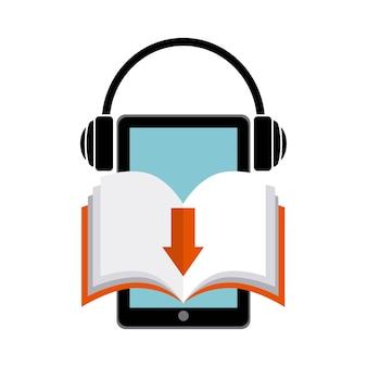 Icona libro e cuffia. design di audiolibri. grafica vettoriale