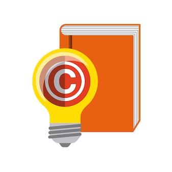 Icona libro e lampadina. design del copyright. grafica vettoriale