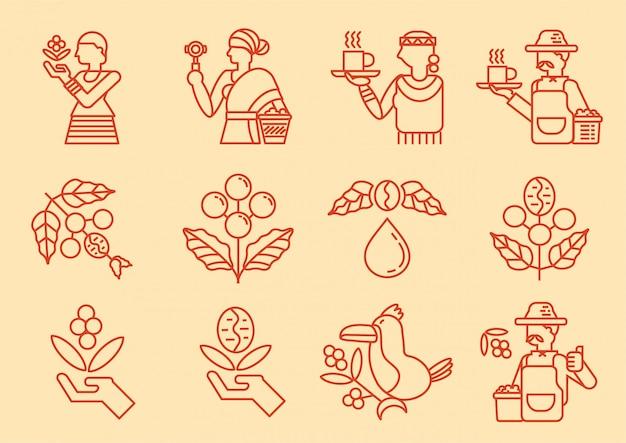 Icona linea di coltivatore di caffè locale con albero di caffè