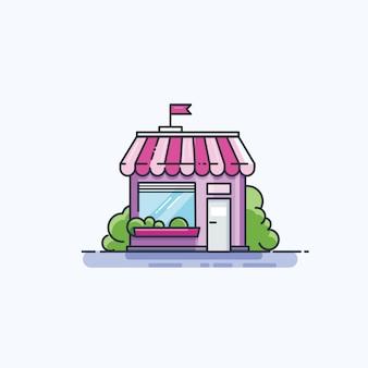 Icona linea facciata facciata del mercato