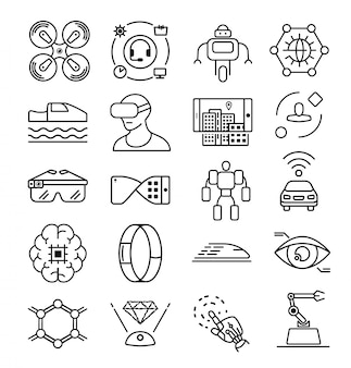 Icona linea tecnologia futura. icona di scienza del futuro. icona del computer. intelligente artificiale. tecnologia dell'informazione. icona della mano del robot