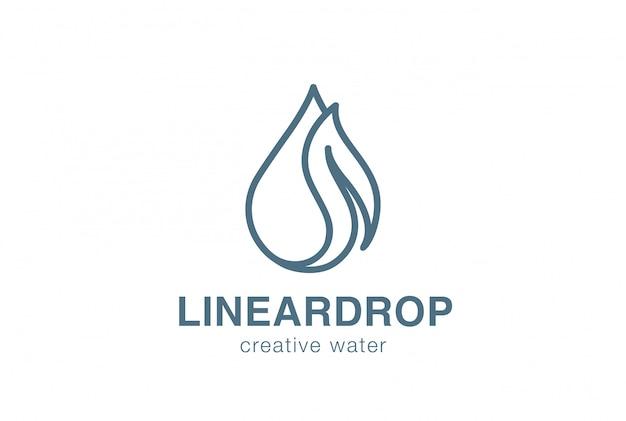 Icona lineare di vettore di logo della foglia di waterdrop.
