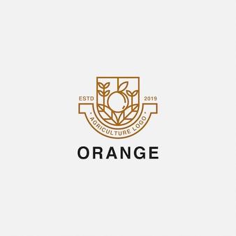 Icona logo distintivo con pianta e arancio