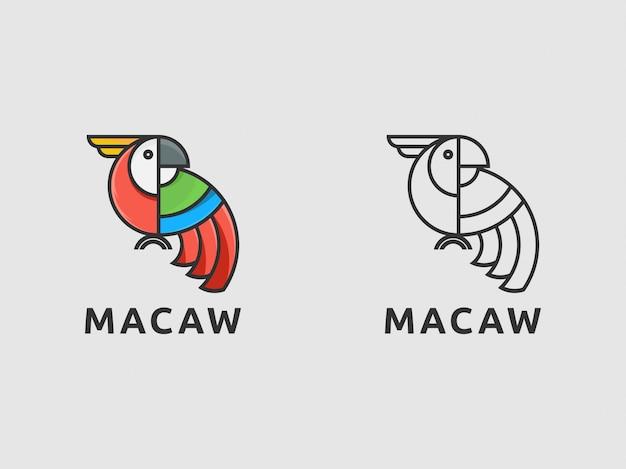 Icona logo macaw uccello con semplice
