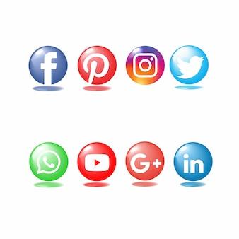 Icona lucida leggera di media sociali