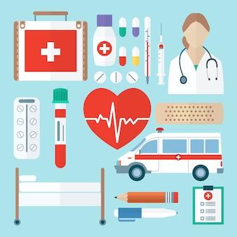 Icona medica di colore impostata in stile piano. primo piano di simboli di medicina.