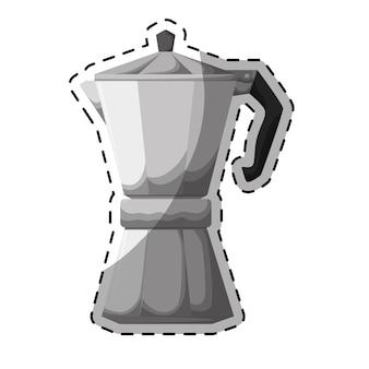 Icona metafora d'argento con moka
