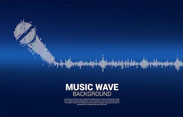 Icona microfono onda sonora sfondo equalizzatore.
