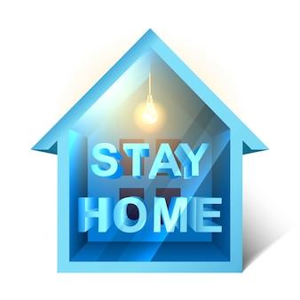 Icona, modello di epidemia di coronavirus con casetta con luce soffusa e segno di rimanere a casa. su sfondo bianco, simbolo dell'autoadesivo domestico.